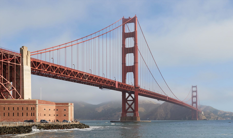 A view of the Golden Gate Bridge from Fort Point