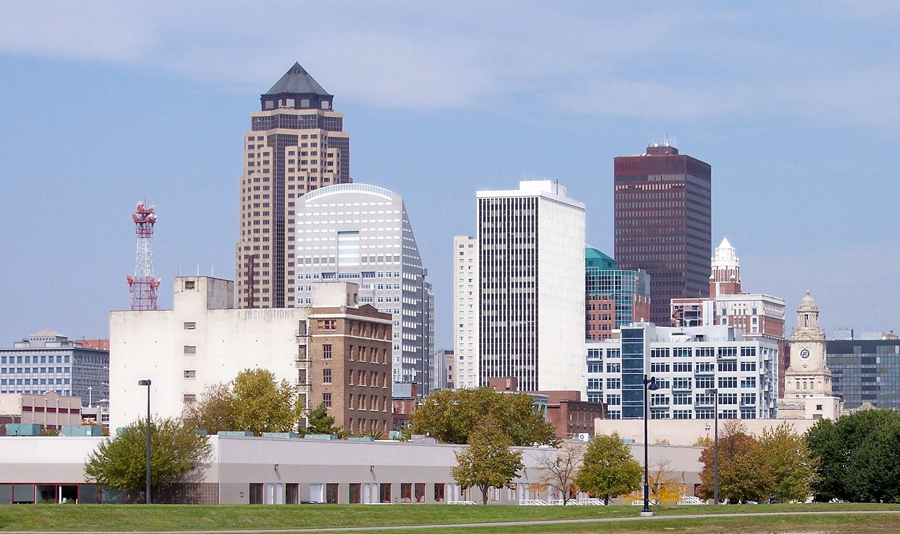 Skyline of Des Moines, Iowa's capital and largest city.