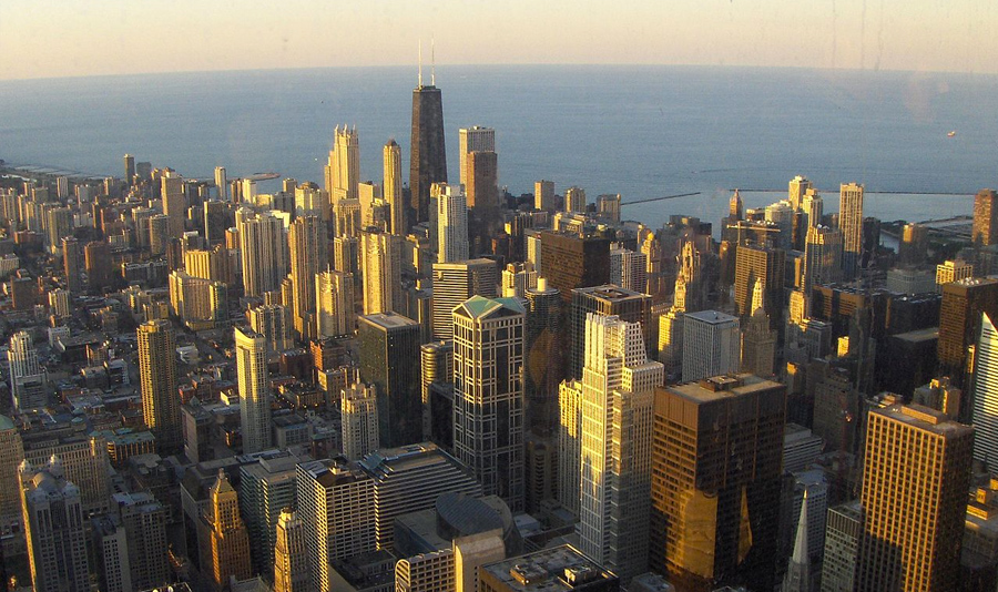 Chicago on Lake Michigan is the third largest city in the United States.