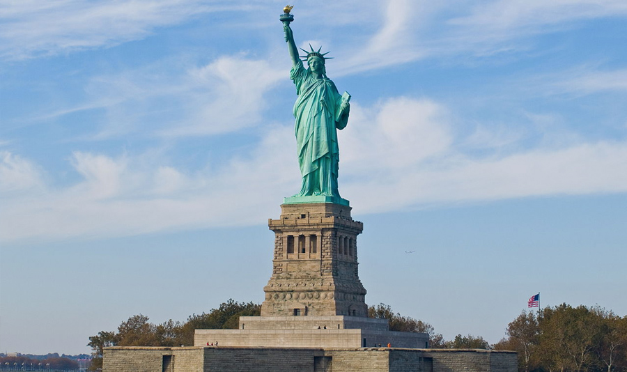 The Statue of Liberty in New York Harbor is a symbol of the United States and its ideals of freedom.